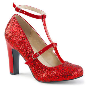 """Shoes - 4"""" High Heels Glitter Ankle-Strap Round Toe Shoes"""